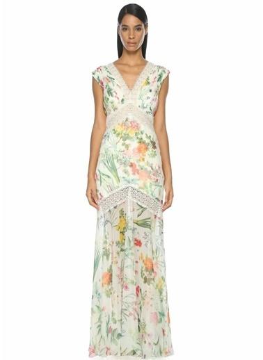 Tadashi Shoji V Yaka Uzun Çiçek Desenli Elbise Beyaz